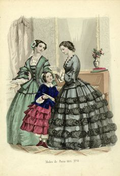 Crinoline Evening Dress- a stiffened or hooped petticoat used to make a long skirt stand out. The evening dress has more trimmings and detail.