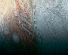 """NASA\'s Juno Spacecraft Image of When Jovian Light and Dark Collide 4/7/17 NASA's Juno Spacecraft reveals """"beauty and the beast"""" in a recent flyby of Jupiter"""