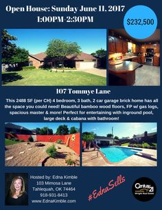 #EdnaSells, Open House, Tahlequah Homes, Oklahoma Homes, POOL