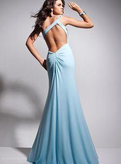 Sexy Column/Sheath One-Shoulder Front -Split Backless Evening Dress