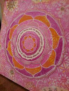 Original Gayatri Mantra Mixed Media Mandala Painting, Reiki infused