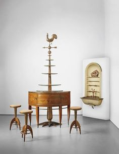 Tomaso Buzzi, Unique and important cocktail bar with three stools and wall-mounted washbasin with niche, designed for the IV Triennale di Monza,1930