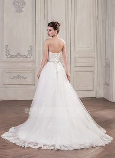 Ball-Gown Sweetheart Chapel Train Tulle Wedding Dress With Ruffle Beading Sequins (002058781) - JJsHouse