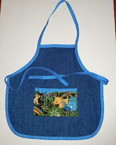 Denim toddler apron, Denim kids apron with safari animals pocket, 14.25 in. long X 14.5 in. wide, Blue trim and ties, kids aprons by beckyspillowshop on Etsy