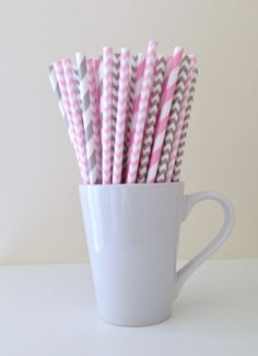 Paper Straws - 25 Light Pink and Gray Grey Striped, Chevron, and Polka Dot Party Straws Birthday Wedding Baby Shower Bridal Gender Reveal by PuppyCatCrafts, $3.60