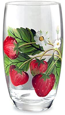 Portmeirion Strawberry Fair Earthenware Hand painted Glassware, Set of 4 Strawberry Kitchen, Strawberry Decorations, Wine Glass Crafts, Hand Painted Wine Glasses, Painted Vases, Bottle Painting, Glass Art, Strawberries, Decorative Crafts