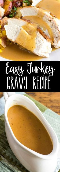 This Easy Turkey Gravy Recipe is the perfect addition to your Thanksgiving table! This savory sauce is delicious on white & dark meat and mashed potatoes! via @breadboozebacon