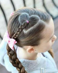 Heart hair part with braid. Heart hair part with braid. Little Girl Hairdos, Girls Hairdos, Hairdos For Short Hair, Girls Updo, Cute Hairstyles For Kids, Kids Braided Hairstyles, Cute Girls Hairstyles, Heart Hairstyles, Beautiful Hairstyles