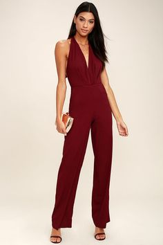 ba3a90e67af You ll jump at any invitation just so you can don the Can t Hardly Wait  Burgundy Halter Jumpsuit! Sexy halter jumpsuit with a surplice bodice and  wide-cut ...