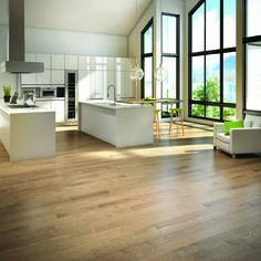 This gorgeous Mercier Red Oak Shadow hardwood flooring creates a calm atmosphere in this bright and modern kitchen. Unique Flooring, Timber Flooring, New Home Windows, Refinishing Hardwood Floors, Floor Refinishing, Hardwood Floor Colors, Maple Floors, 3d Studio, Luxury Homes Interior