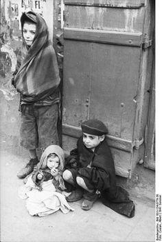 Jewish children, Warsaw ghetto, Summer 1941.