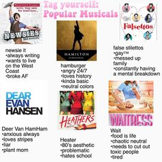 False Stilettos (Falsettos) and a bit of Wait (Waitress) and Hamburger (Hamilton) <<< Newsies and Dear Evan Hansen Musical Theatre Broadway, Broadway Shows, Waitress Musical, Musicals Broadway, Theatre Nerds, Theater, Heathers The Musical, Hamilton Musical, Out Of Touch