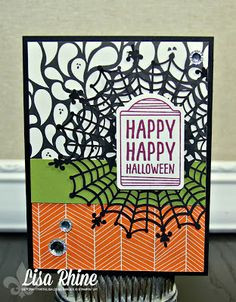 Get Crafty with Lisa:  Sweet Hauntings.  This Halloween card features Stampin' Up!'s Sweet Hauntings Stamp Set, Happy Haunting Designer Series Paper, and Spider Web Doilies, by Lisa Rhine, www.getcraftywithlisa.com