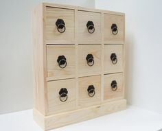 Unfinished Wood Dresser Organiser With 9 Drawers - Jewelry Box - Treasure Chest…