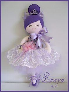 Soraya♥  Handmade  Doll.....Ballerina  $95  Full tulle  tutu inlavender and ivory w. a delicatelace overlay  w. satin ribbon ti...