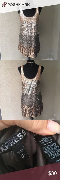 """Express Ombré Sequin mini dress Express Ombré Sequin mini dress- stunning brown to gold sequin dress - fully lined so no scratchy feeling from the sequins! EUC 17"""" Bust 33"""" length ✅I ship same or next day ✅Bundle for discount Express Dresses Mini"""