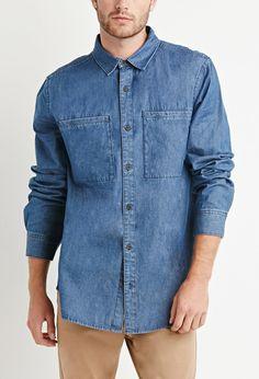Oversized Pocket Denim Shirt | 21 MEN - 2000180920