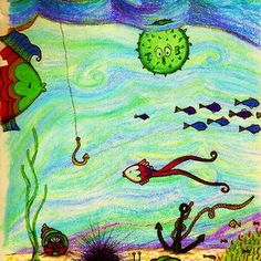 U is for Underwater by Nalinne Jones. Puffer fish puffed up under the sea with other colorful sea life and swirly waves.