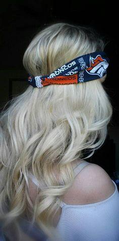 Denver Broncos NFL Football tailgate Headband Blonde hair perfect curls  makeup eyeshadow eyelashes scarf scarves skin 4a3db9a5f
