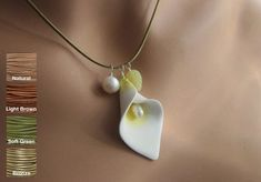 Calla Lily Argile polymère perles d'eau douce Jade