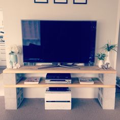 DIY cinder block TV cabinet