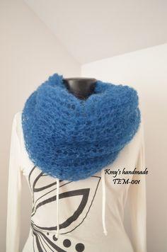 Sciarpa multifunzionale, scialle, scalda collo, solo su ordinazione, kid mohair , soffice, colore blu di SaNaMarket su Etsy