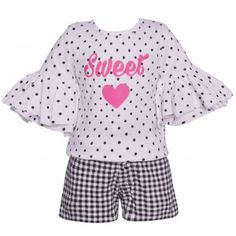 d00a2efbfee Big Girls Black White Dot Flared Sleeve Checkered 2 Pc Shorts Outfit 7-16  Special