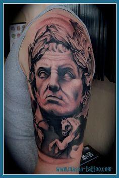 Slightly aggressive-looking half sleeve of Gaius Julius Caesar