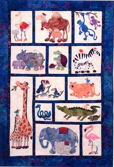 Mom and Me: Baby Steps Pattern- Cute zoo animal quilt.