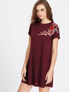 68a7cce79d To find out about the Embroidered Flower Patch Roll Cuff Swing Tee Dress at  SHEIN, part of our latest Dresses ready to shop online today!