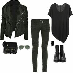 All black: skinny pants, tee, leather jacket, combat boots, bag, sunglasses, nail polish