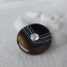"""Magnetbrosche Edelstein Streifenonyx - Swarovski """"Diamant"""" Swarovski, Outfit, Accessories, Gemstone Beads, Magnets, Brooch, Gems, Stripes, Handmade"""