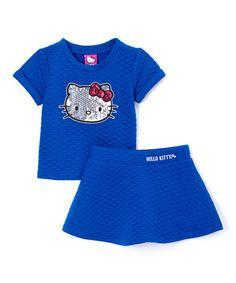 Another great find on #zulily! Sapphire Hello Kitty Top & Skirt - Toddler & Girls #zulilyfinds