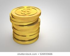 Coins with dollar symbol. Dollar Coin, Coins, Symbols, Stock Photos, Illustration, Gold, Hacks, Coining, Rooms