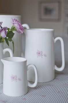 Fine bone china jugs adorned with single pink English rose www.annabeljames.co.uk
