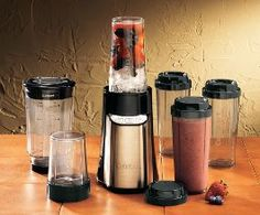 Cuisinart Single-Serve Blender. Comes with a 32 oz. cup, 4 16 oz. 'to go' cups, 1 chopper cup for herbs or nuts, and two different blades! $60 My mom has one and they are so awesome and convenient!