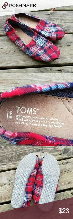 Spotted while shopping on Poshmark: SOLD ON EBAY! Red and Blue Plaid Toms! #poshmark #fashion #shopping #style #Toms #Shoes