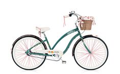 The Gypsy model sold by Electrabike has beautiful flowers on the fenders and frame (the one I saw in the store had a darker green background) super cute with lined basket. Electrabike.com