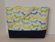 Blue Wiener Dogs Dachshund Cotton Canvas Handmade by BugabooBags, $26.00