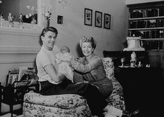 Ronald Reagan at home with wife Jane Wyman and daughter Maureen C. 1942