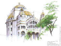 Arte & Ofício: Desenhistas urbanos | Aquarela de Eduardo Bazjek, igreja ortodoxa do bairro do Paraíso, São Paulo