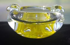 Vintage St Clair Art Glass Ashtray Trumpet Flowers Hand Blown Paperweight Style North American