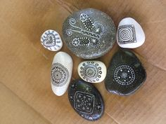 Hands-off art for my guy: sharpie-rocks, with white paint-pen & clearcoat. Even better?!?