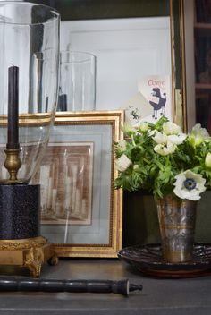 Tabletop arrangement with anemones - Markham Roberts