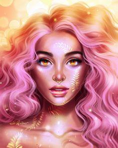 Summer by SandraWinther on DeviantArt Digital Art Girl, Digital Portrait, Portrait Art, Beautiful Drawings, Cool Drawings, Cute Girl Drawing, Black Girl Art, Cartoon Art, Cute Art