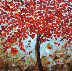 original jolinas red Blossoms Tree impasto abstract painting from listed artist jolina anthony Art Corner, Blossom Trees, Leaf Art, Art Party, Large Art, Art Plastique, Beautiful Paintings, All Art, Painting & Drawing
