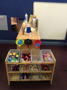 Self service creative area! Love the funnel and wool idea! Classroom Layout, Classroom Organisation, Classroom Design, Preschool Classroom, Preschool Art, Classroom Ideas, Preschool Plans, Creative Area Eyfs, Creative Curriculum