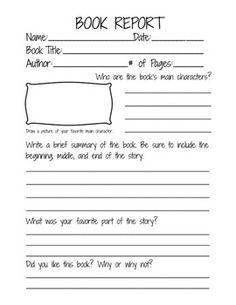 Book Report Form for 2nd, 3rd, and 4th grade students