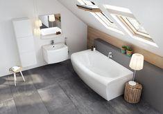 Az öntött akril Evolution kád domináns formája visszaköszön a többi fürdőszobabútor és szaniter formavilágában.