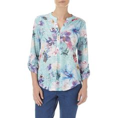 Petite Mint Floral Print Shirt ($32) ❤ liked on Polyvore featuring tops, blouses, mint, petite, floral long sleeve shirt, blue long sleeve shirt, floral blouse, shirts & blouses and long sleeve shirts